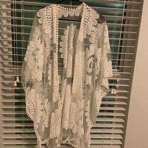 White embroidered swim coverup kimono OS